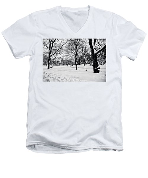 Snow Scene  Men's V-Neck T-Shirt by Madeline Ellis