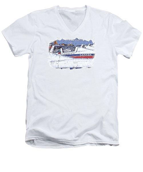 Snowbirds Men's V-Neck T-Shirt by Richard Farrington