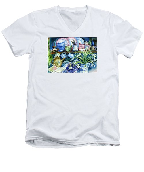 Snowdrops On A Kitchen Dresser Men's V-Neck T-Shirt