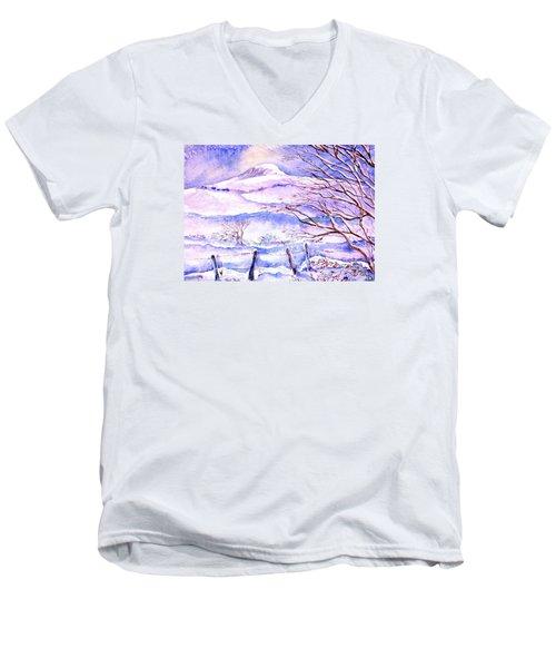 Snowfall On Eagle Hill Hacketstown Ireland  Men's V-Neck T-Shirt by Trudi Doyle