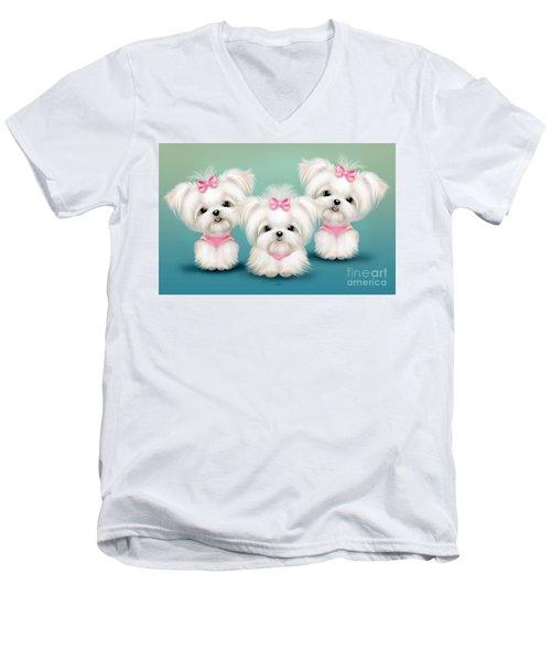 Snowflakes  Men's V-Neck T-Shirt by Catia Cho