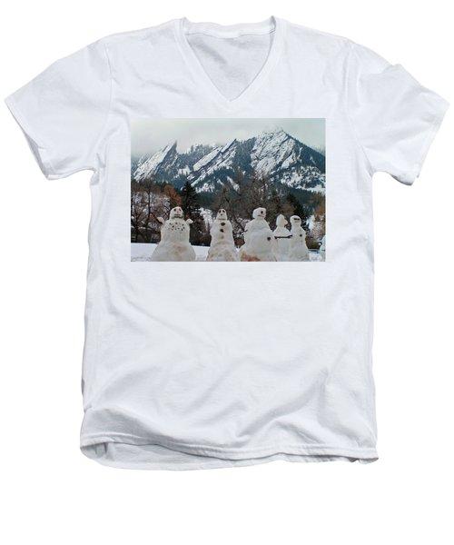 Flatiron Snowmen. Men's V-Neck T-Shirt