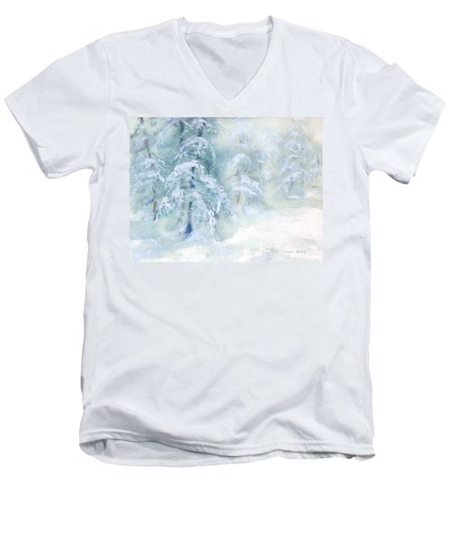 Snowstorm Men's V-Neck T-Shirt by Joy Nichols