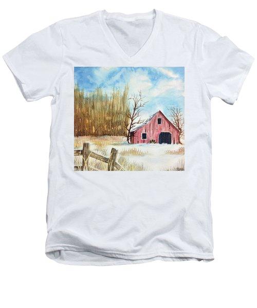 Snowy Barn Men's V-Neck T-Shirt