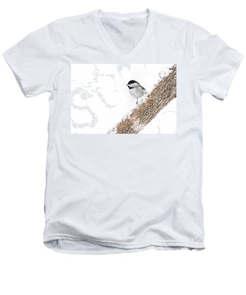 Snowy Chickadee Men's V-Neck T-Shirt
