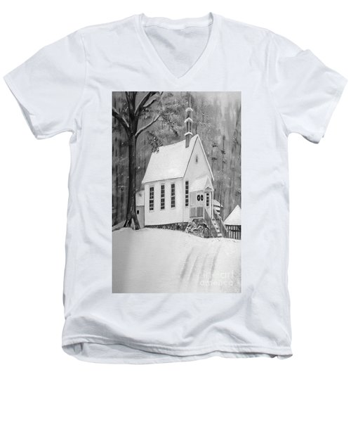 Snowy Gates Chapel -white Church - Portrait View Men's V-Neck T-Shirt