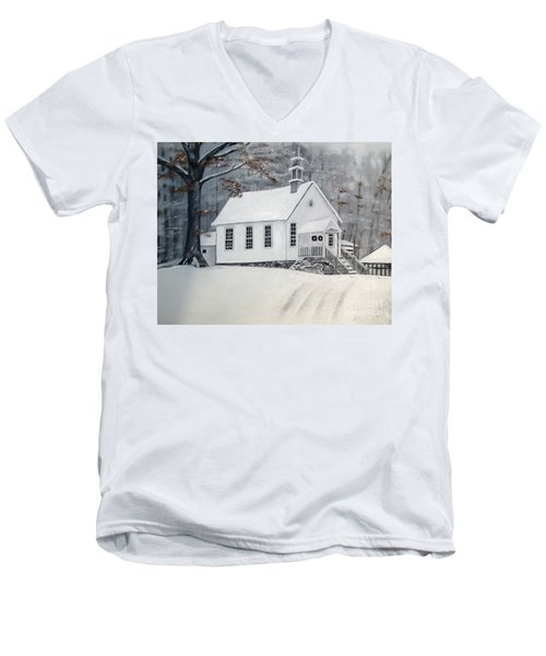 Snowy Gates Chapel  -little White Church - Ellijay Men's V-Neck T-Shirt