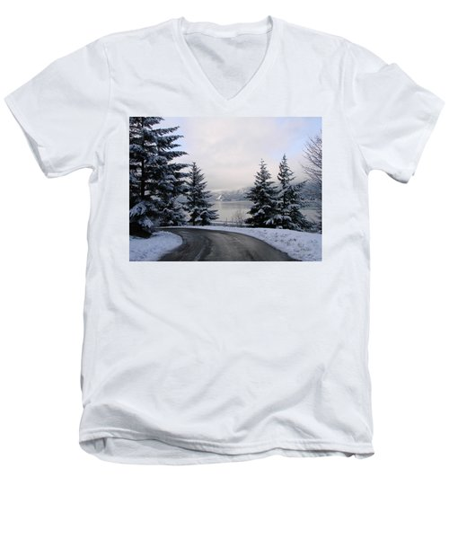Men's V-Neck T-Shirt featuring the photograph Snowy Gorge by Athena Mckinzie