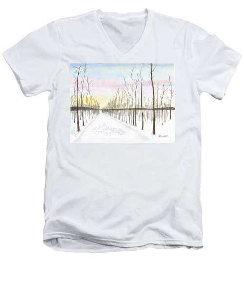 Snowy Lane Men's V-Neck T-Shirt