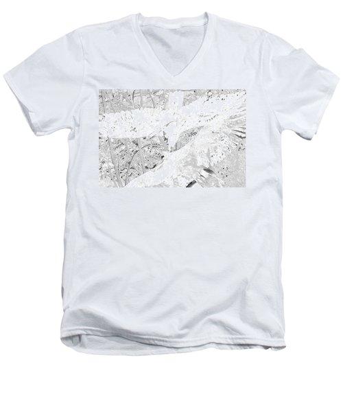 Soaring Hawks Indian Spirit White Gold Men's V-Neck T-Shirt by Deprise Brescia