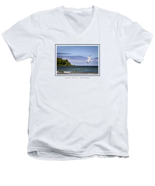 Soaring Over Door County Men's V-Neck T-Shirt by Barbara Smith