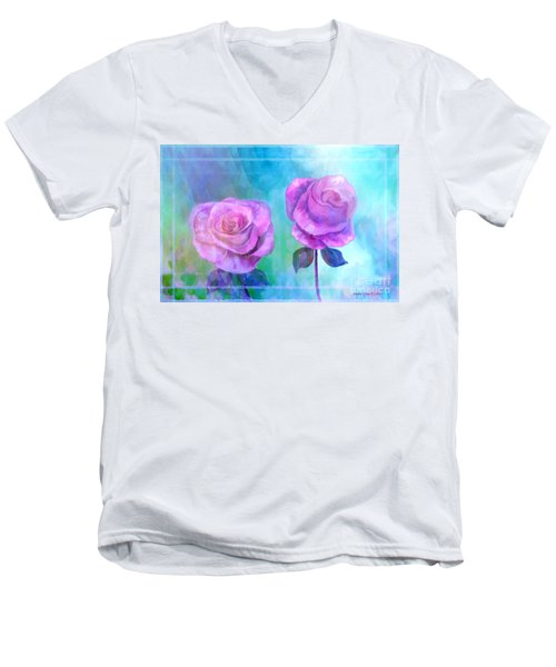 Soft And Beautiful Roses Men's V-Neck T-Shirt by Annie Zeno