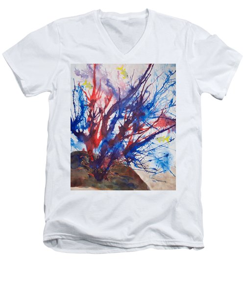 Soft Coral Splatter Men's V-Neck T-Shirt by Patricia Beebe