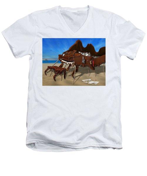 Soft Grand Piano With Camera - Panoramic Men's V-Neck T-Shirt