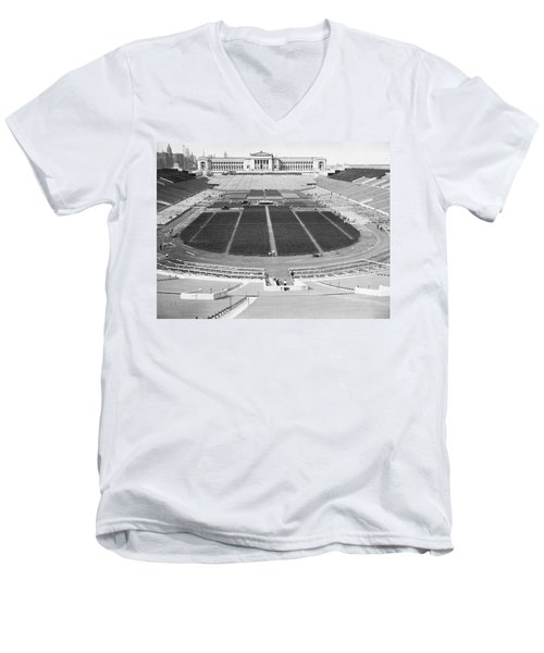 Soldier's Field Boxing Match Men's V-Neck T-Shirt by Underwood Archives