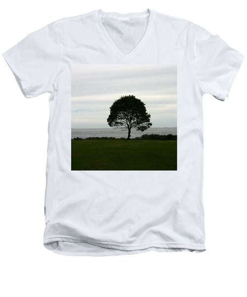 Solitude Men's V-Neck T-Shirt by Denyse Duhaime