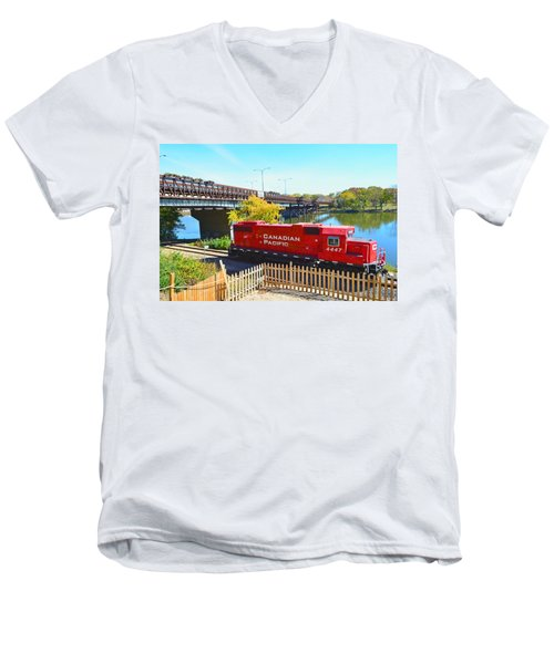 Solo Red Canadian Pacific Engine Along Rock River In Rockford Men's V-Neck T-Shirt by Jeff at JSJ Photography