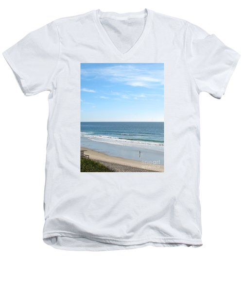 Solo Walk On Southern California Beach Men's V-Neck T-Shirt by Connie Fox