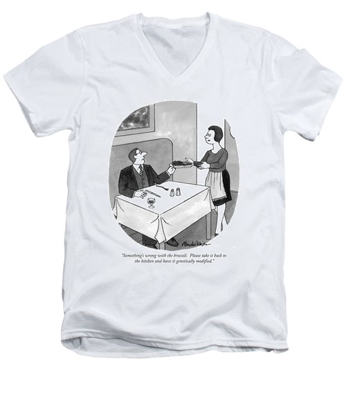 Something's Wrong With The Broccoli.  Please Take Men's V-Neck T-Shirt by J.B. Handelsman