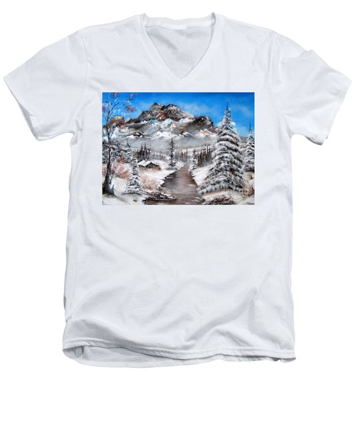 Men's V-Neck T-Shirt featuring the painting South Dakota Morning by Patrice Torrillo
