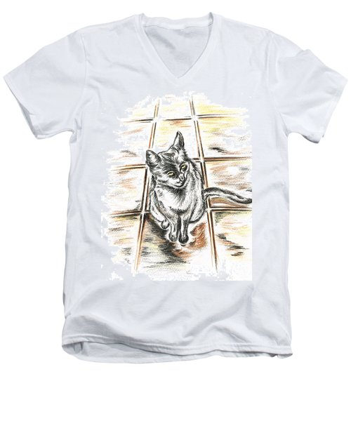 Spanish Cat Waiting Men's V-Neck T-Shirt by Teresa White