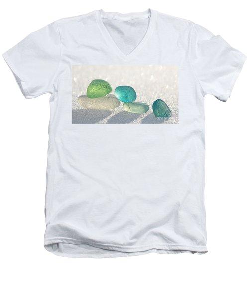 Sparkling Sea Glass Friends Men's V-Neck T-Shirt by Barbara McMahon