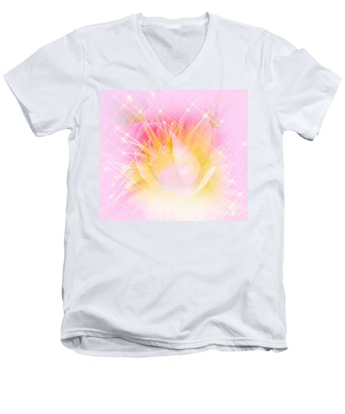 Men's V-Neck T-Shirt featuring the photograph Sparkling Starlight Burst Abstract by Judy Palkimas