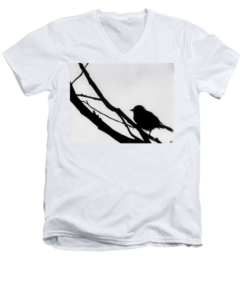 Men's V-Neck T-Shirt featuring the drawing Sparrow In A Gray Sky by D Hackett
