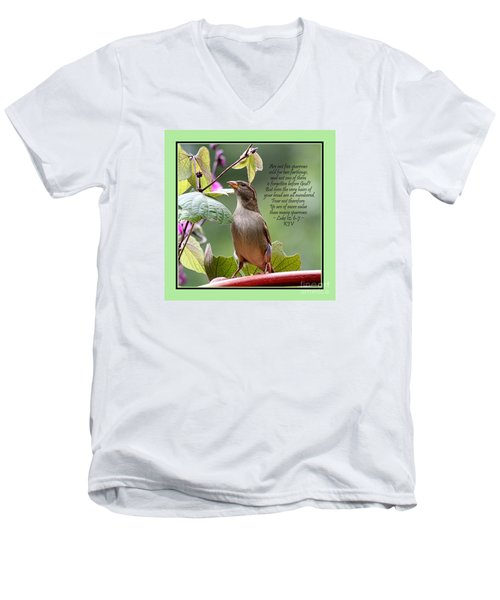 Sparrow Inspiration From The Book Of Luke Men's V-Neck T-Shirt