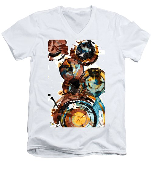 Men's V-Neck T-Shirt featuring the painting Spherical Happiness Series - 993.042212 by Kris Haas