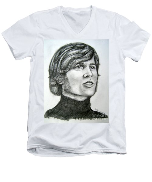 Men's V-Neck T-Shirt featuring the drawing  A Young Barry Gibb by Patrice Torrillo