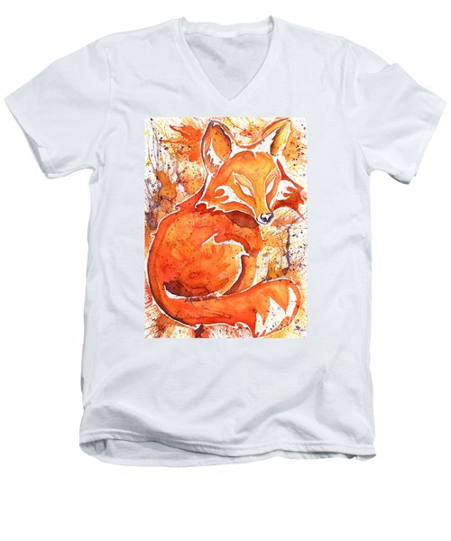 Men's V-Neck T-Shirt featuring the painting Spirit Of The Fox by D Renee Wilson