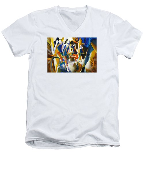 Men's V-Neck T-Shirt featuring the painting Spirited Away by Georg Douglas