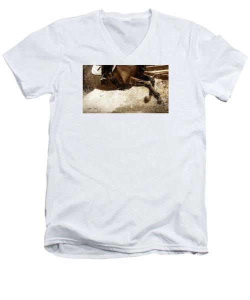 Men's V-Neck T-Shirt featuring the photograph Splash 2013 by Joan Davis