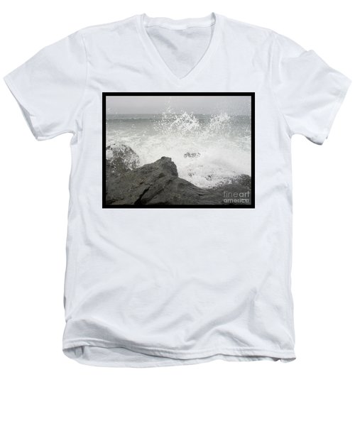 Men's V-Neck T-Shirt featuring the photograph Splash And Gray by Glenn McCarthy Art and Photography