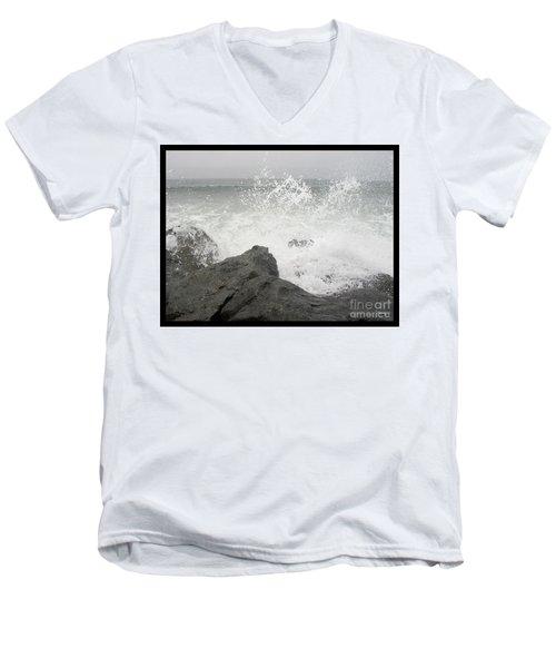 Splash And Gray Men's V-Neck T-Shirt
