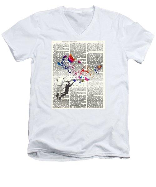 Spray Natura Graffiti Art Print Men's V-Neck T-Shirt by Sassan Filsoof