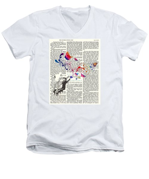 Spray Natura Graffiti Art Print Men's V-Neck T-Shirt