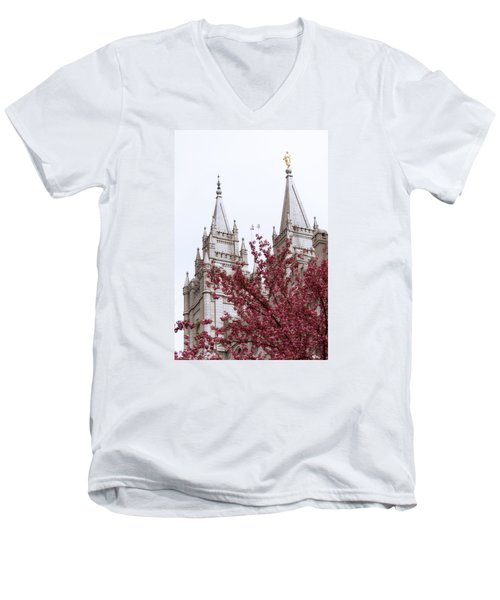 Spring At The Temple Men's V-Neck T-Shirt
