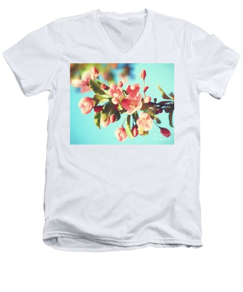 Spring Blossoms In Digital Watercolor Men's V-Neck T-Shirt