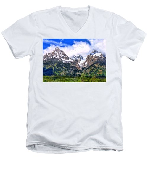 Spring In The Grand Tetons Men's V-Neck T-Shirt by Michael Pickett