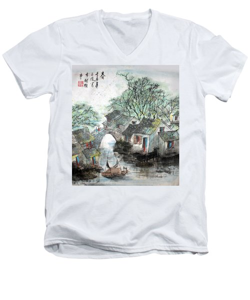 Men's V-Neck T-Shirt featuring the photograph Spring In Watertown by Yufeng Wang