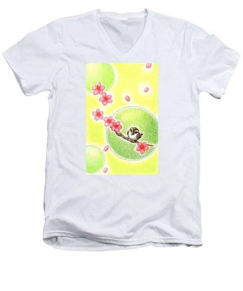 Men's V-Neck T-Shirt featuring the drawing Spring by Keiko Katsuta