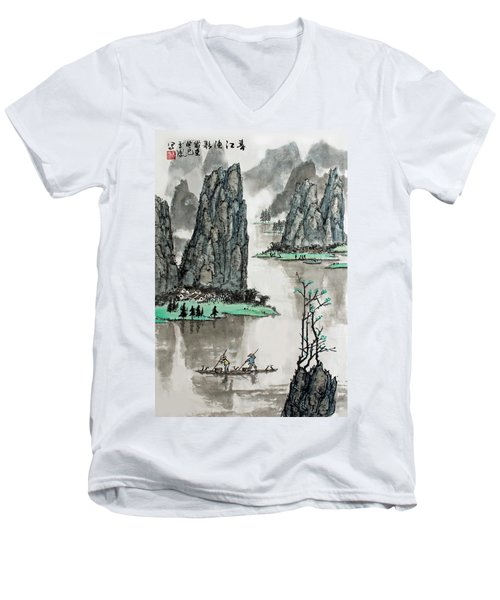 Men's V-Neck T-Shirt featuring the photograph Spring River by Yufeng Wang