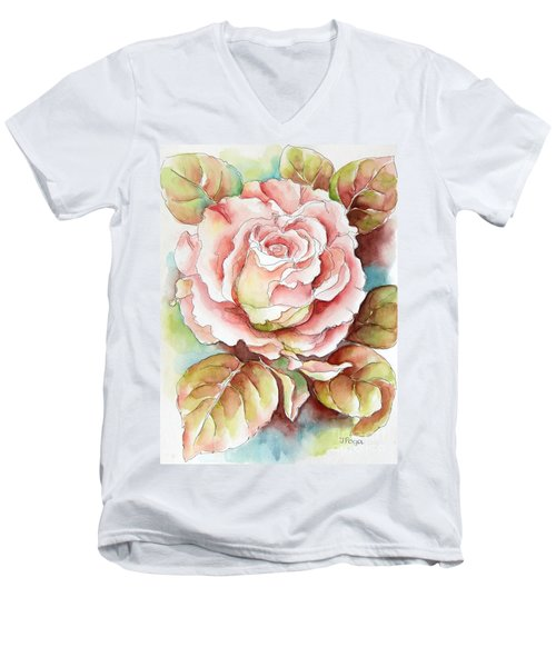 Men's V-Neck T-Shirt featuring the painting Spring Rose by Inese Poga