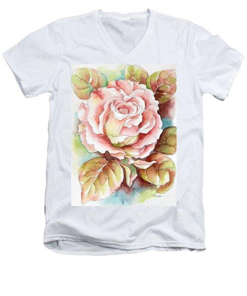 Spring Rose Men's V-Neck T-Shirt by Inese Poga