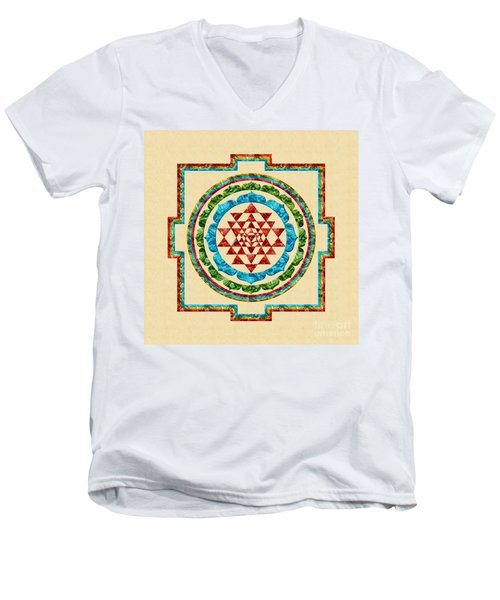 Sri Yantra Men's V-Neck T-Shirt by Olga Hamilton