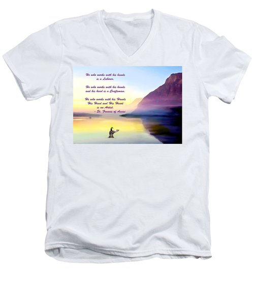 St Francis Of Assisi Quotation Men's V-Neck T-Shirt