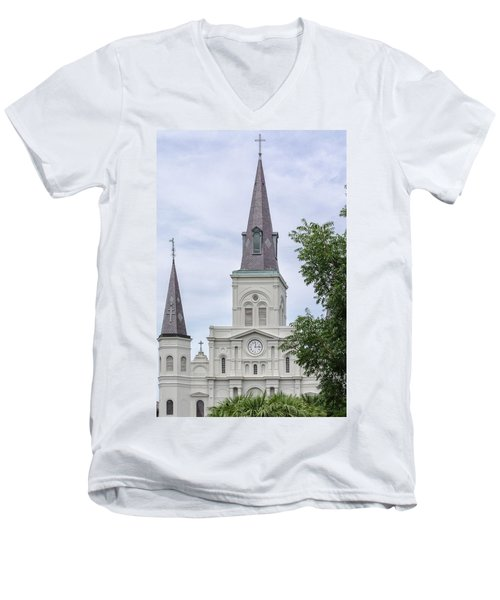 St. Louis Cathedral Through Trees Men's V-Neck T-Shirt