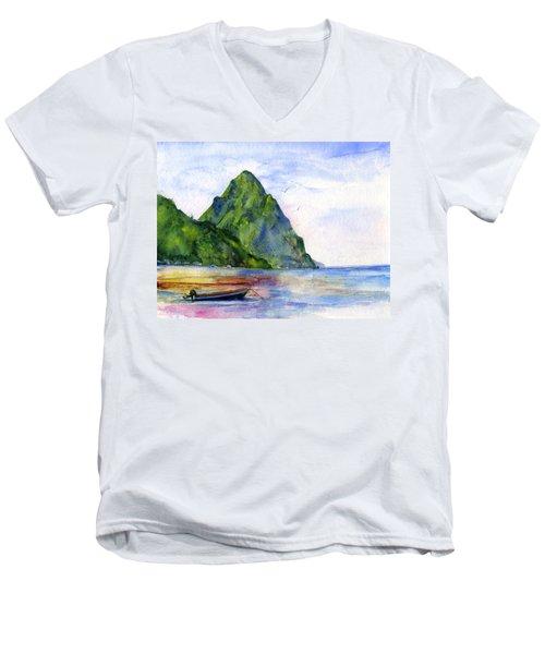 St. Lucia Men's V-Neck T-Shirt by John D Benson